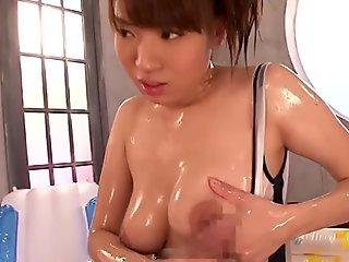 Palatable brunette slut from Japan Hina Otsuka tickles her tight pussy