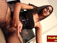 Busty thai ladyboy in lingerie pleasures self