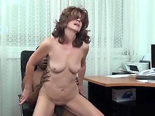 redhead skinny mom at work