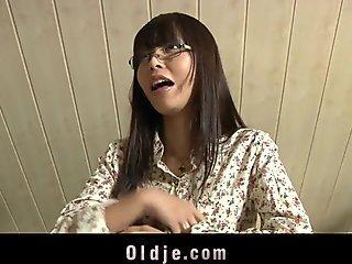 japanese teenage tearing up older bald teacher