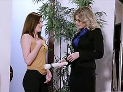 MILF Cory lures Jessica into lesbian sex