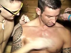 Ripped euro amateur cumsprayed in group