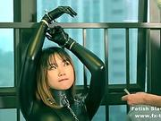 fx-tube.com bondage leather catsuit gal on single gloves