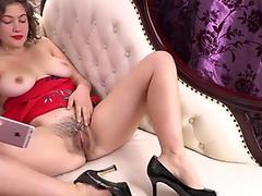 Big tit aussie rubbing her pussy