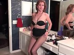 highly thin grannie strips off and masturbates