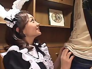 Doll face Rin blows juicy cock