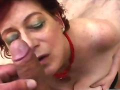 Georgette horny old grandma moans outside in the bushes while she gives head