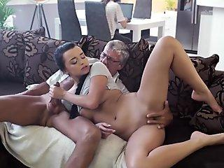 Lana gets busted by the dean so she sucks his cock