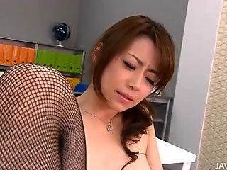 Fuck voracious Japanese office employee enjoys hot masturbation