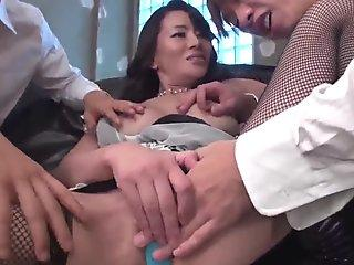 Busty Rei Kitajima Gets Hard Fucked By Two Males