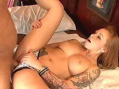 Dirty whore Scarlett Pain sucks a dick and gets thrusted on a table