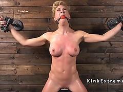 Busty Milf in bondage rides Sybian