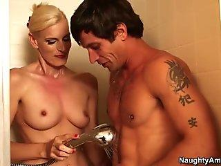 Horny blonde mom Darryl Hanah blows cock of her friend