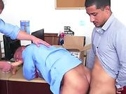 Boss gives employee ultimatum by making him suck on his big dick