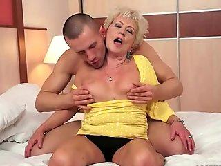 Young man fucking hot busty grandma