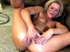 light-haired milf gal Sonia playing with her sex playthings