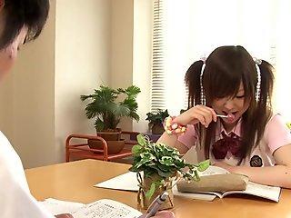 Teen nippon schoolgirl give footjob in socks
