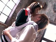 Curly haired Thai female squeals when she's banged rock hard