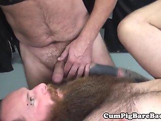 Chubby bear fucked bareback in threeway