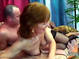 Fit granny taking care of fat young boner