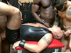 Rough black gays fuck a guy in latex