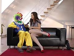 Bizarre british milf pussy fucked by clown