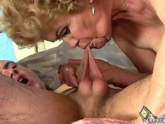 Hot granny Effie has fantastic sex with young guy