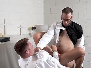 Twink agrees to fuck with the old priest for redemption