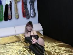Alice In Bunny Costume And Stockings Masturbating