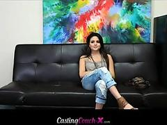 Chubby brunette teen babe tried with monster cock on cam at casting