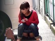 Bizarre asian whore pees in car park